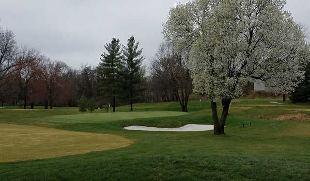A spring day view of a green at St. Joseph Country Club.