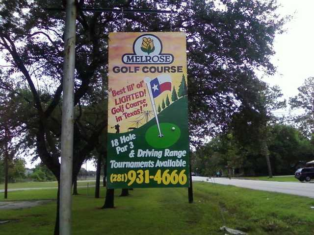 A view of the entrance sign from Melrose Golf Course.