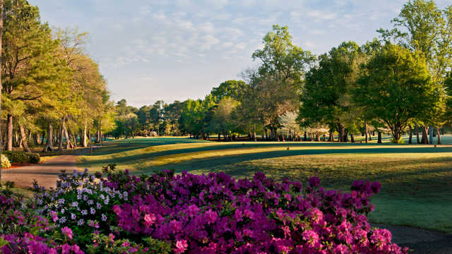 A view of a tee at Lagoon Park Golf Course.