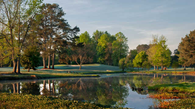 A view of a hole at Lagoon Park Golf Course.