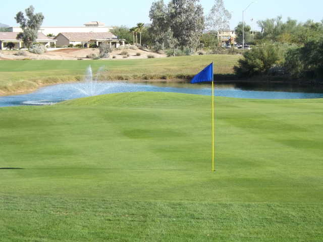 A view of a green with water coming into play at Mission Royale Golf Club.