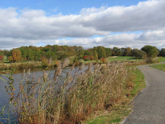 View of the lake near the 12th and 13th holes at Cedar Creek Golf Course
