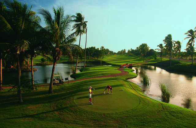 View of the 1st tee box from The Mountain Golf Course at Isla Navidad Country Club
