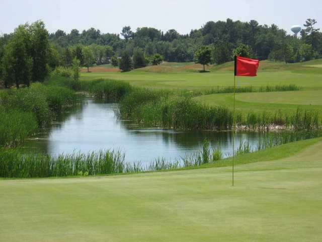 A view of a hole with water coming into play at Foxfire Golf Club.