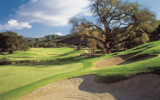 A view of a well protected hole at Rancho San Marcos Golf Course.