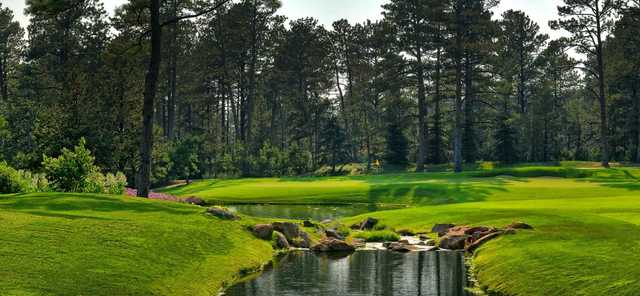 A view of a green at Castle Pines Golf Club.
