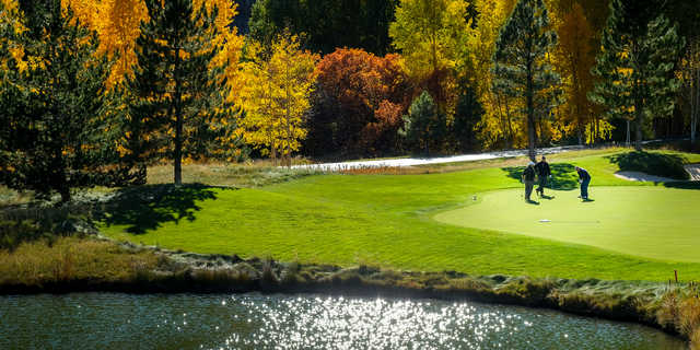 A fall day view of a hole at Valley Course from Glacier Club.