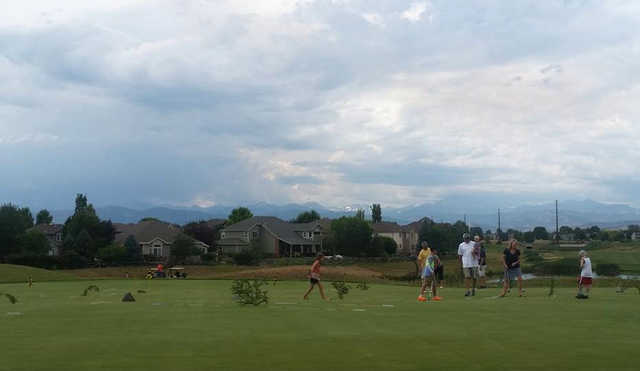 A view of the practice putting green at Ute Creek Golf Course.