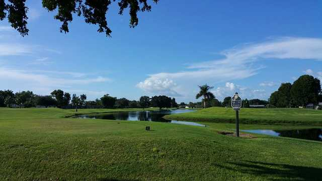 A view of tee #13 at Lakewood Country Club of Naples.