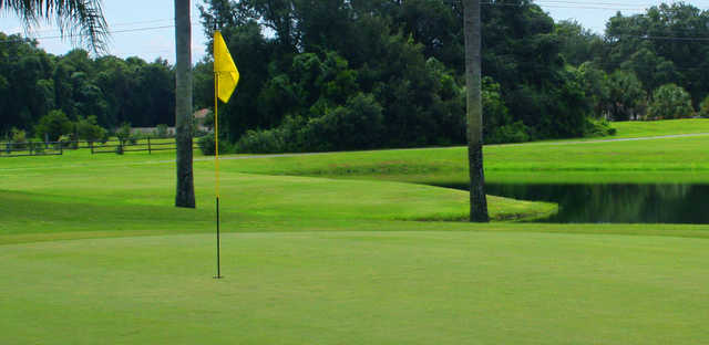 A view of a green with water in background at The Groves Golf Course.