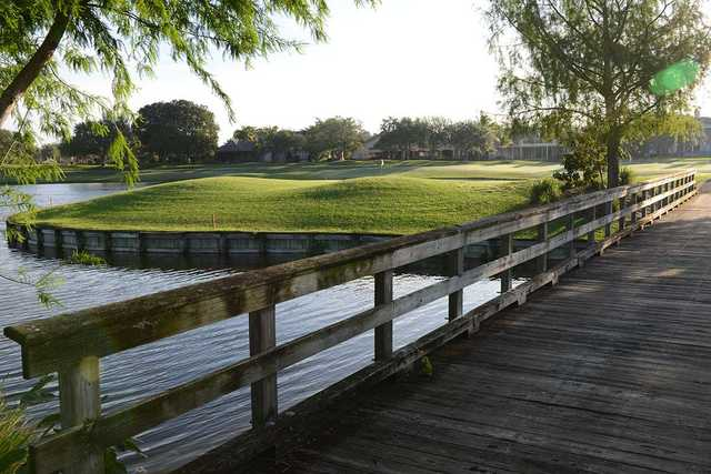 A view from a bridge at Eagle Trace Country Club.