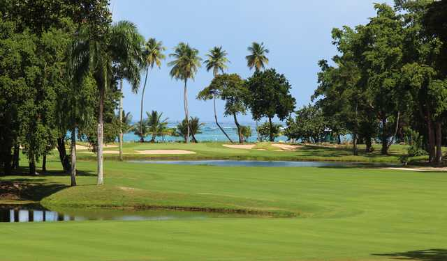 "No. 4 on the East Course at TPC Dorado Beach is named the ""Z"" hole because its reverse Z-shaped fairway zigzags around two water hazards"