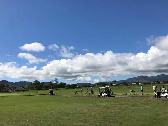 A view of the driving range at Puakea Golf Course.