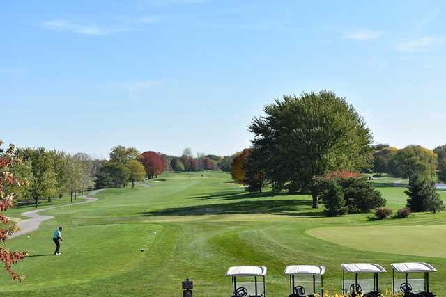 A view of a tee at Arlington Lakes Golf Club.