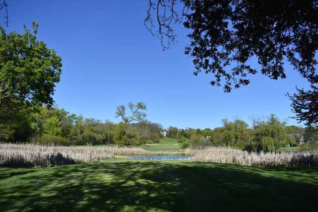 A view from a tee at Lake Barrington Shores Golf Club.