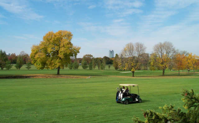 A view of a fairway at Oak Brook Golf Club.