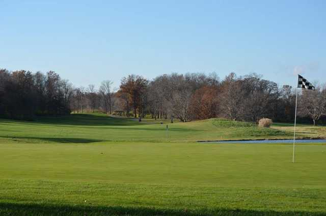 A view of a green with water coming into play at Red Tail Run Golf Club.