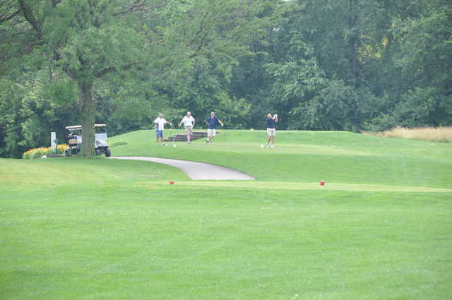 A view of a tee at Coffin Golf Club.