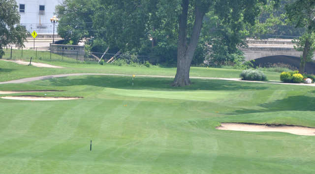 A view of a well protected hole at Coffin Golf Club.