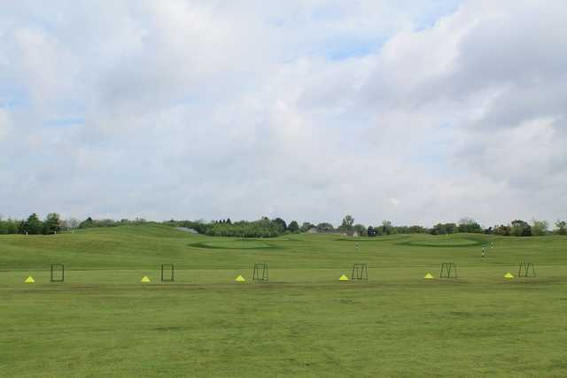 A view of the driving range at Golden Fox Course from Fox Hills Golf Center.