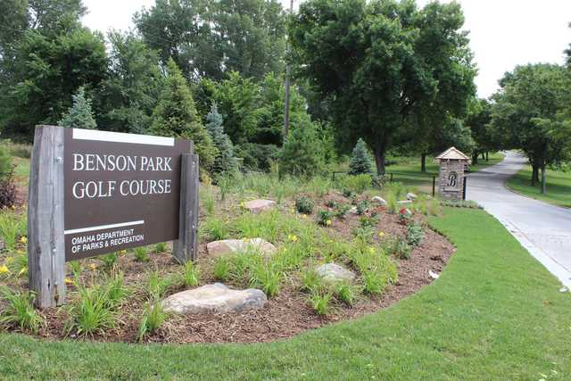 A view of the entrance sign at Benson Park Golf Course.