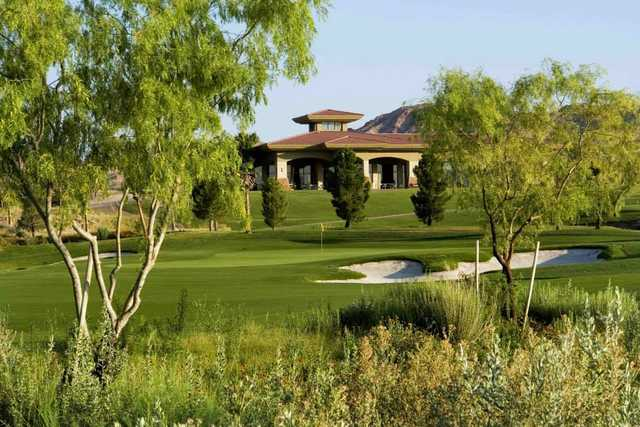 A view of a hole and the clubhouse at Boulder Creek Golf Club.