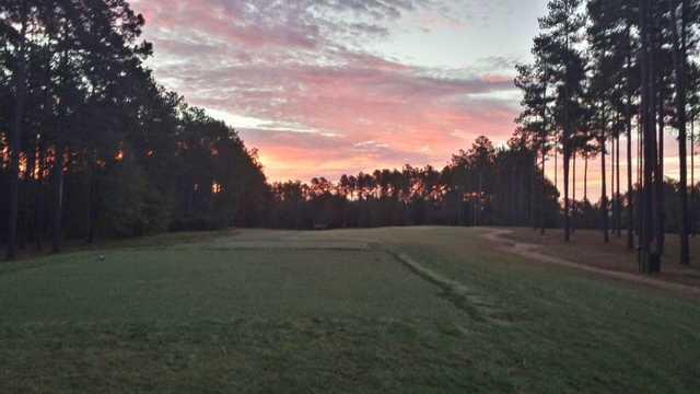 A sunset view from a tee at Cedar Creek Golf Club.