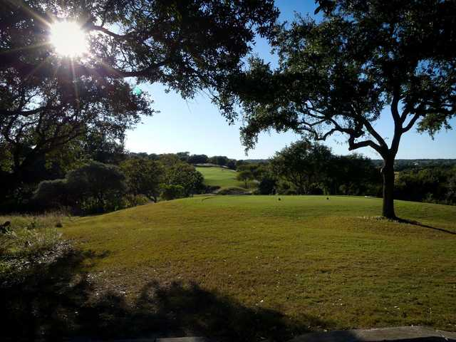 A view of a tee at Avery Ranch Golf Club.