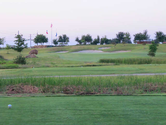 A view from a tee at the Frisco Lakes Golf Club