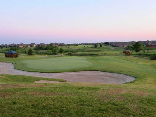 A view of a well protected hole from the Frisco Lakes Golf Club