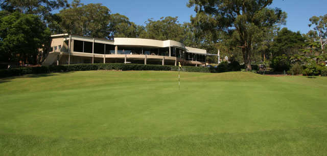 View of the 18th hole and clubhouse from Gosford Golf Club.