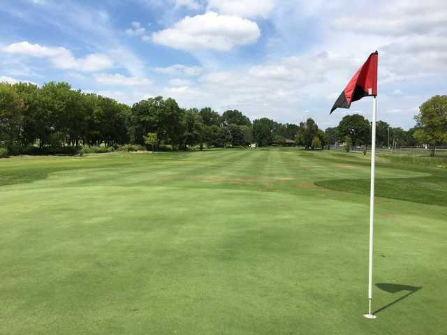 A sunny day view of a hole at Centerbrook Golf Course.