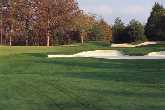 A fall day view of a hole at South Riding Golf Club.