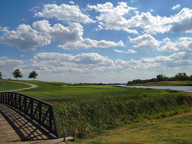 A view over a bridge at Mozingo Lake Recreation Park Golf Course.