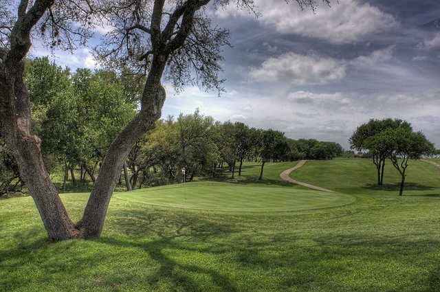 A view of a green at Blue Lake Golf Club.