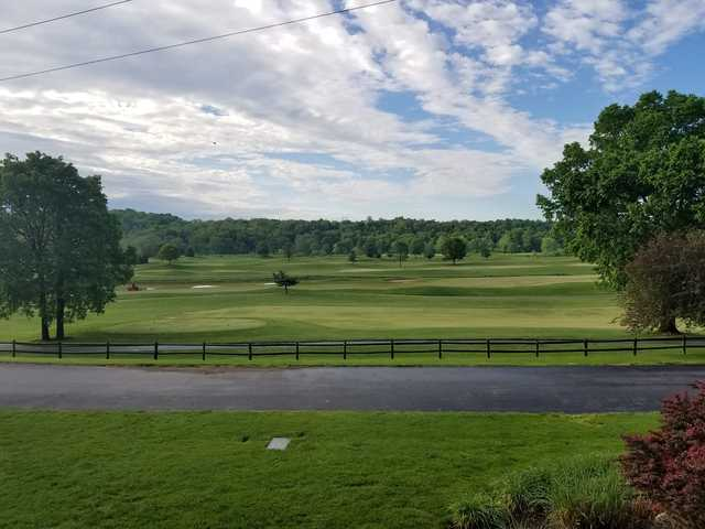 A view of a tee at Rivercut Golf Course.