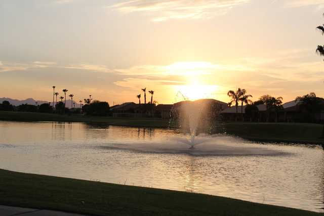A sunset view over the water from Oakwood Country Club.