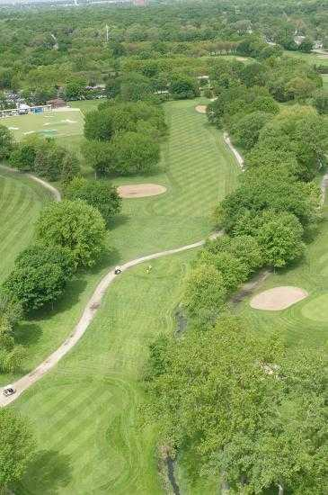 Aerial view of hole #2 at White Pines Golf Course - East Course