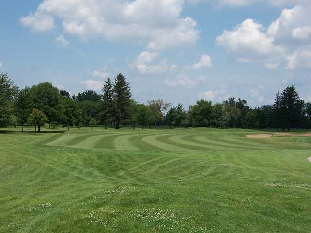 A view of a fairway at University of Illinois Golf Course.