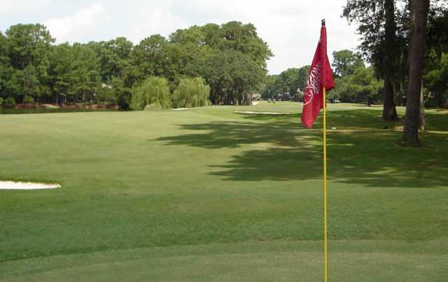 A view from a green at Moss Creek Golf Club.