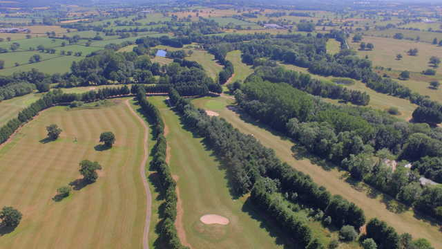View of the 9th tee box and 12th green at Aldersey Green Golf Club
