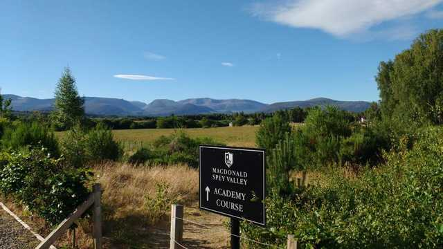 A view of the entrance sign at Spey Valley  9-hole Academy Golf Course.