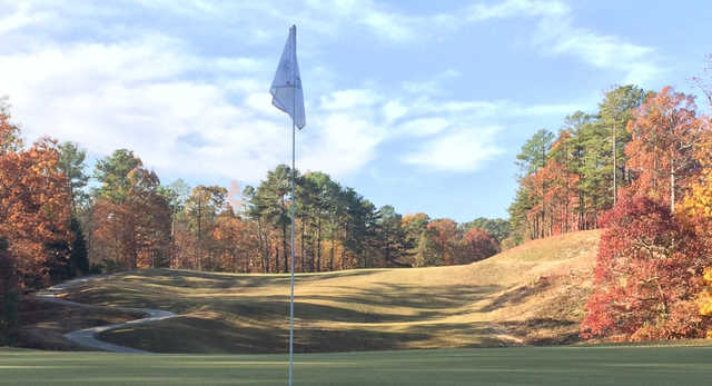 A fall day view from a green at Heatherwood Hills Country Club.