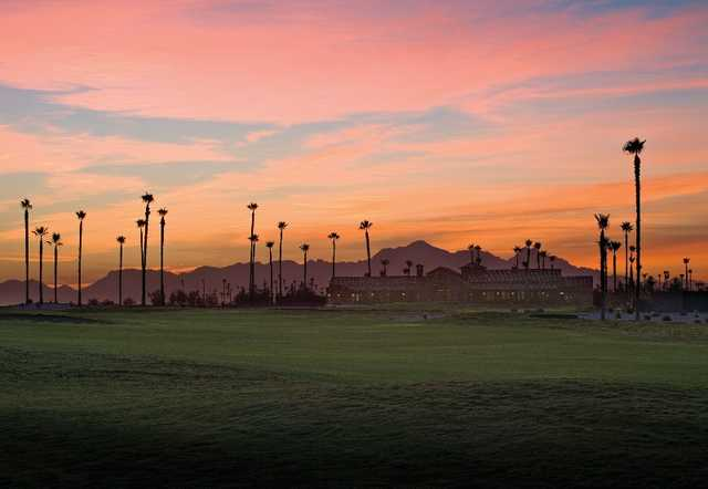A sunset view of a fairway at Robson Ranch Golf Club.