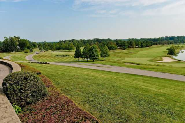 A sunny day view from Covered Bridge Golf Club.