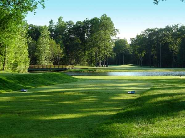 A view from a tee at Falcon from Pine Knob Golf Club.