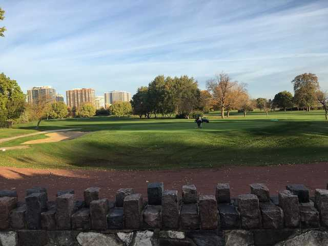 A fall day view of a green at Sydney R. Marovitz Golf Course.