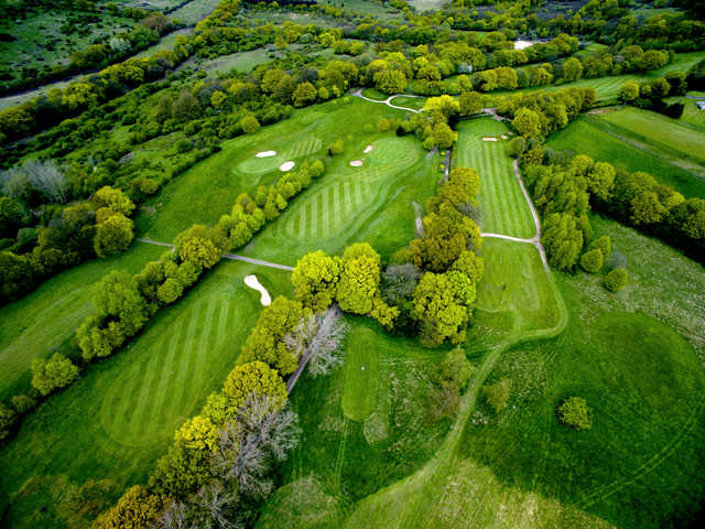 Aerial view of the 7th, 2nd and 3rd hole from West Essex Golf Club