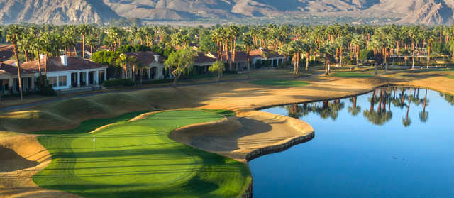 A view of a green with water coming into play at PGA West Jack Nicklaus Tournament Course.