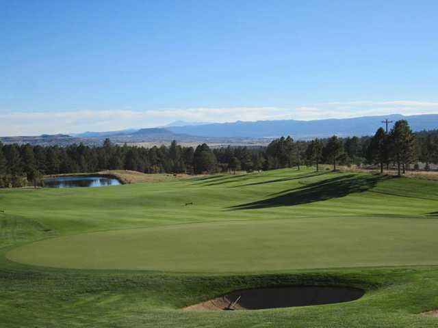 A view of the 16th green from The Ridge at Castle Pines North.